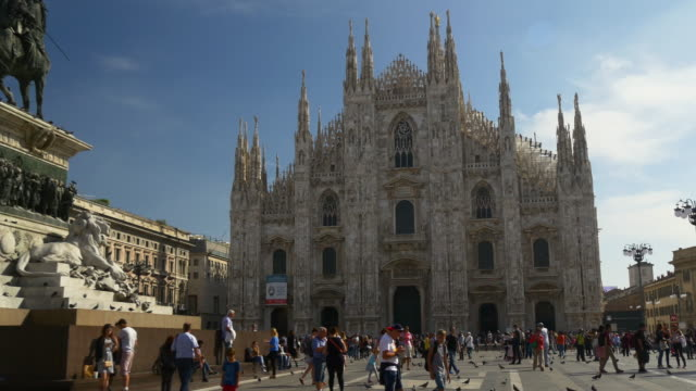 italy day light milan duomo cathedral monument panorama 4k video