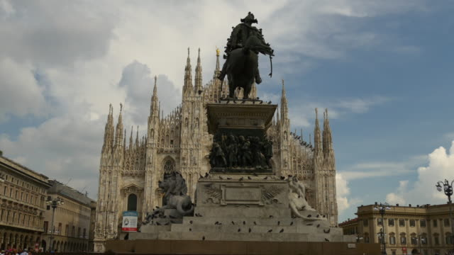 italy day victor emmanuel II monument duomo cathedral square panorama 4k milan video
