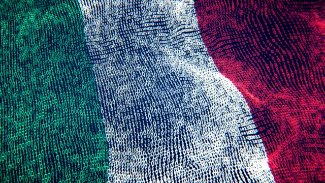 italy flag particle digital flag loopable 4k - campionato video stock e b–roll