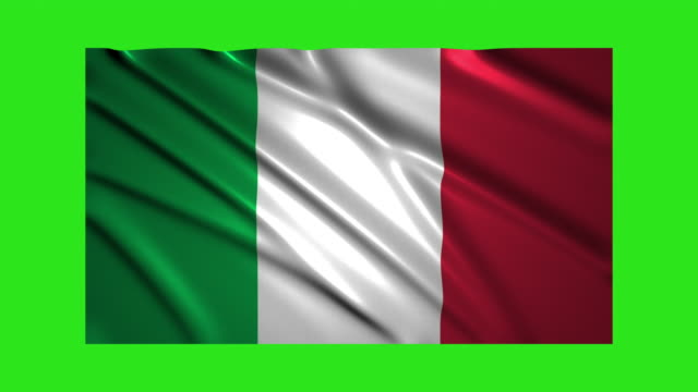 Italy flag waving,loopable on green screen video