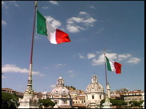 Italy flags Over Rome Skyline video