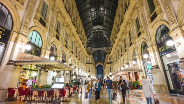 italy galleria vittorio emanuele shopping street night walking panorama 4k time lapse milan video