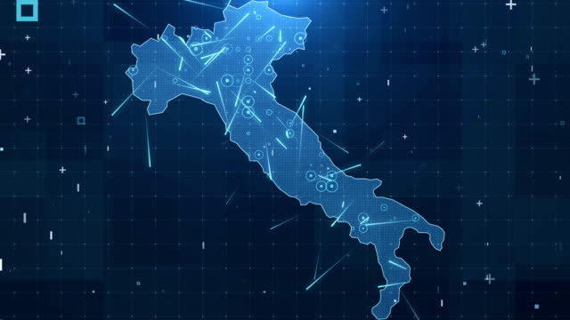 italy map connections full details background 4k - cartina italia video stock e b–roll