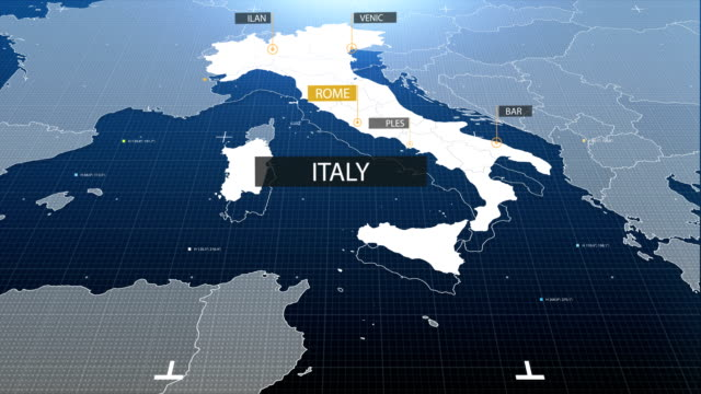 italy map with label then with out label - cartina italia video stock e b–roll