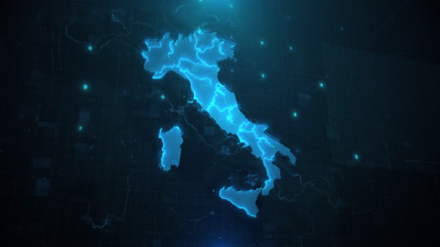 italy map with regions against blue animated background 4k uhd - cartina italia video stock e b–roll