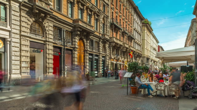 italy milan city center summer day famous dante street panorama 4k time lapse - italian architecture stock videos & royalty-free footage