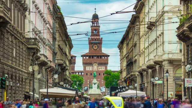 italy milan city day light famous pedestrian street panorama 4k timelapse - milan video stock e b–roll