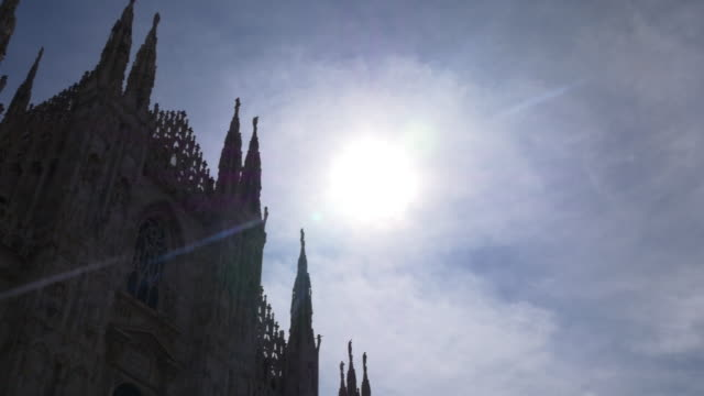 italy milan city famous duomo cathedral front sun light panorama 4k video