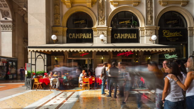 italy milan city summer day famous galleria cafe panorama 4k time lapse video