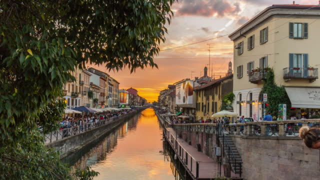 italy milan sunset ripa di porta ticinese grand canal panorama 4k time lapse - italian architecture stock videos & royalty-free footage