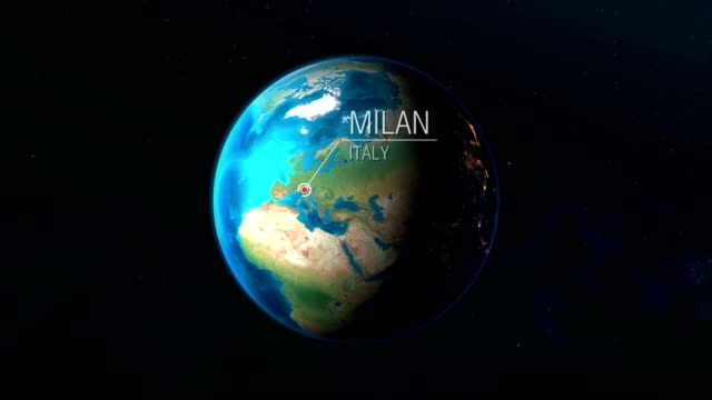 italy - milan - zooming from space to earth - cartina italia video stock e b–roll