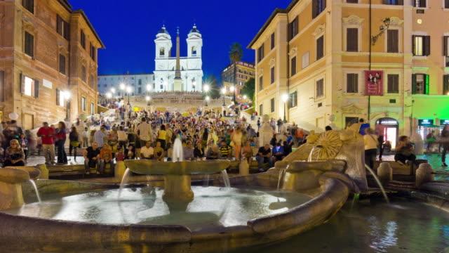 italy night illumination rome famous spanish steps fountain panorama 4k time lapse video