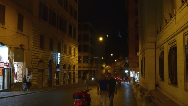 italy night time rome city traffic street walking view 4k video