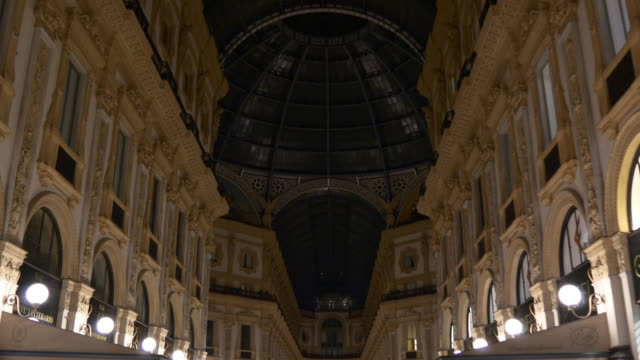 italy night time victor emmanuel ii shopping gallery inside rooftop panorama 4k milan - italian architecture stock videos & royalty-free footage