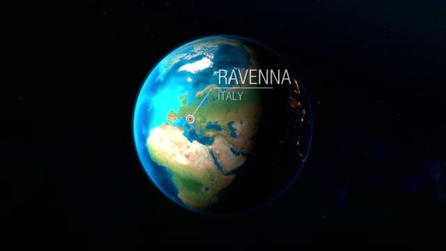 i̇talya - ravenna - uzaydan dünyaya yakınlaştırma - ravenna stok videoları ve detay görüntü çekimi