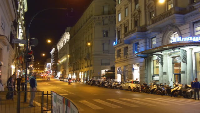 italy rome city night time traffic street panorama 4k video