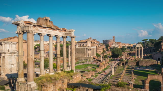 italy rome city summer day roman forum temple of saturn panorama 4k time lapse video