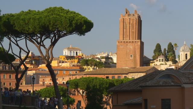 Italie rome summer sunset jour paysage urbain sur le toit tour panorama de la ville 4k - Vidéo