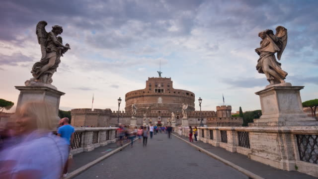 italy rome famous bridge castle of the holy angel front entrance panorama 4k time lapse video