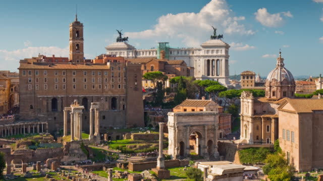 italy summer day colosseum roman forum famous panorama 4k time lapse rome video