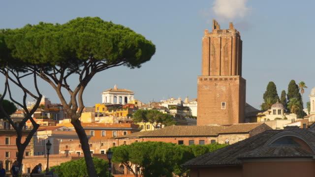 Italie l'été jour rome ville cityscape coucher de soleil sur le toit tour panorama 4k - Vidéo