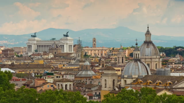 italy summer day rome famous cityscape altare della patria rooftop panorama 4k time lapse video