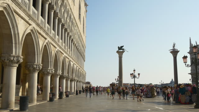 italy summer day sun light venice city palazzo ducale bay front square panorama 4k day sun light venice city palazzo ducale bay front square panorama 4k italy italian architecture stock videos & royalty-free footage