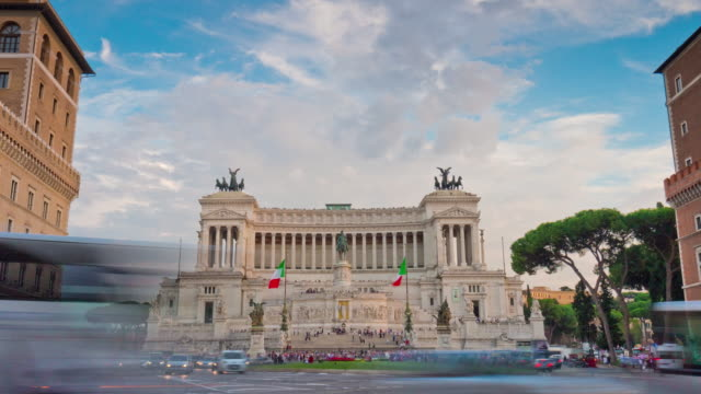 italy summer sunset plazza venezia altare della patria traffic panorama 4k time lapse rome video