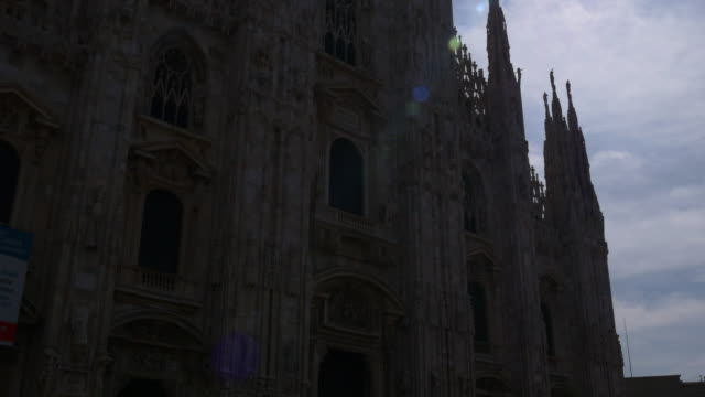 italy sun light milan city famous duomo cathedral front panorama 4k video