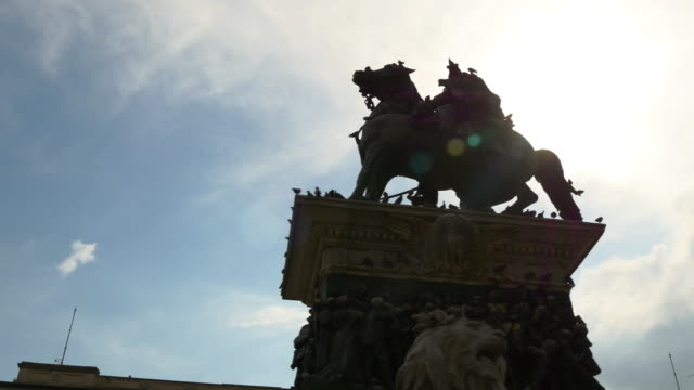 italy sun light victor emmanuel II monument cathedral square panorama 4k milan video
