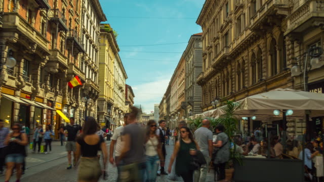 italy sunny day milan city dante street crowded walking panorama 4k time lapse - italian architecture stock videos & royalty-free footage