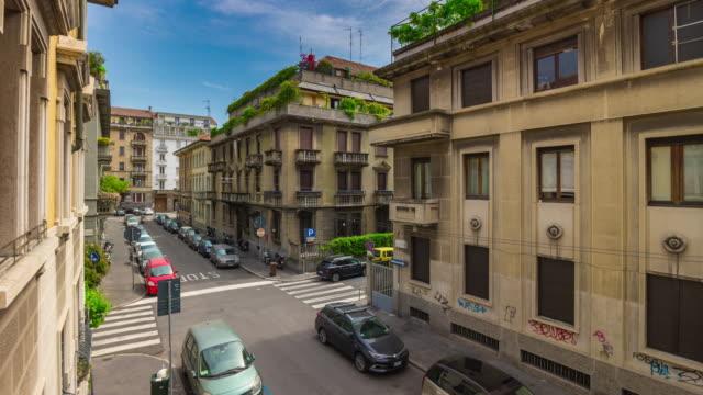 italy sunny day milan city street balcony panorama 4k timelapse - lombardia video stock e b–roll