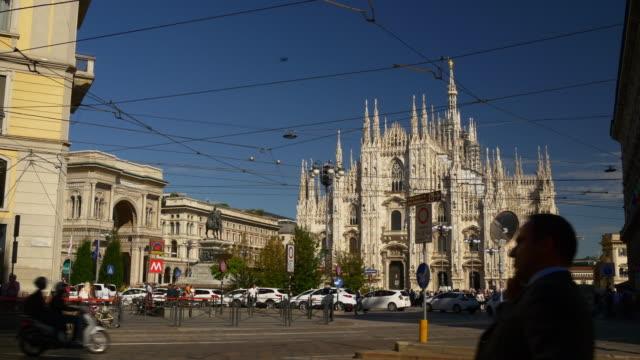 italy sunny day milan city torino street walking panorama 4k video