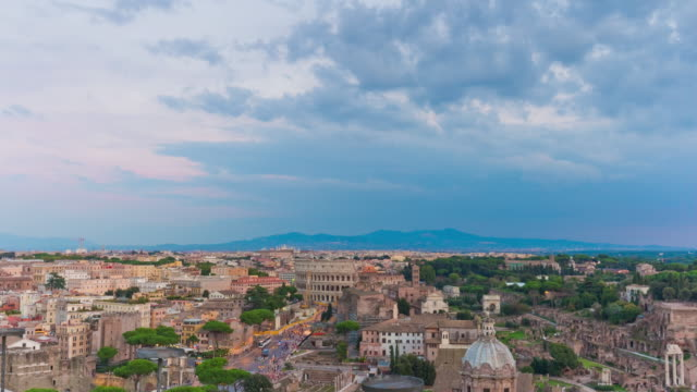 italy sunset storm sky altare della patria rooftop roman forum panorama 4k time lapse video