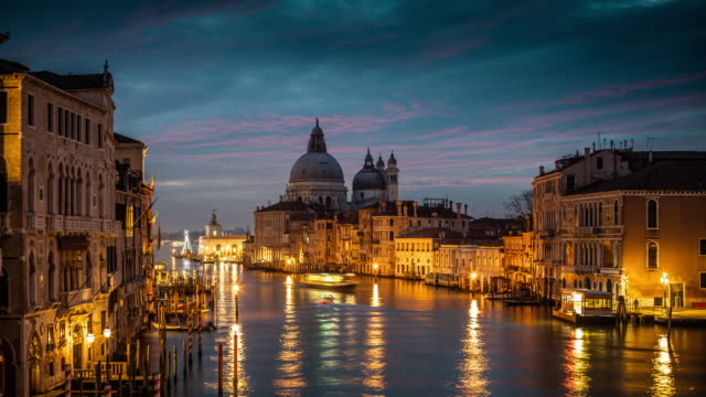 italy, venice, grand canal with santa maria della salute - church architecture stock videos & royalty-free footage