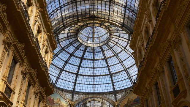 italy victor emmanuel ii shopping gallery dome inside panorama 4k milan - italian architecture stock videos & royalty-free footage