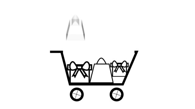 items being added to shopping cart, christmas gift sales concept black on white - cestino video stock e b–roll