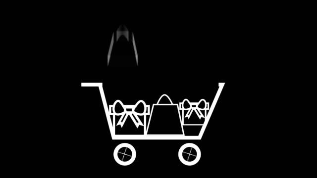 objekt som läggs till i kundvagn, jul gåva försäljning konceptet vitt på svart - pound sterling isolated bildbanksvideor och videomaterial från bakom kulisserna