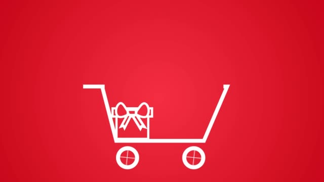 vídeos de stock e filmes b-roll de items being added to shopping cart, christmas gift sales concept white on red - shop icon