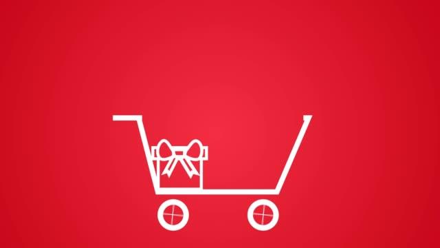 objekt som läggs till i kundvagn, jul gåva försäljning konceptet vit på röd - pound sterling isolated bildbanksvideor och videomaterial från bakom kulisserna