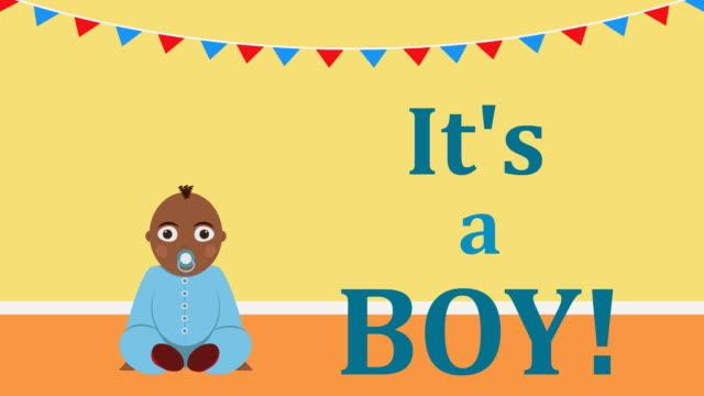 C'est un garçon. Vidéo annonce de la naissance de l'enfant ou de l'invitation pour babyshower - Vidéo