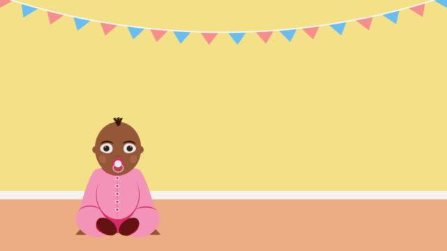 C'est une fille. Vidéo annonce de la naissance de l'enfant ou de l'invitation pour babyshower - Vidéo