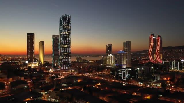 Izmir skyline. Amazing aerial view of Izmir skyline - Turkey. aegean sea stock videos & royalty-free footage