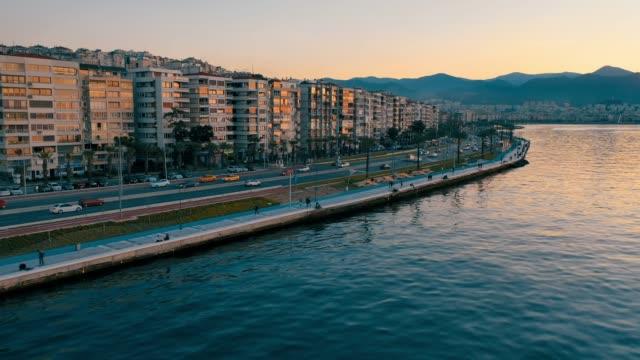 Izmir. Aerial view of Izmir coastline. aegean sea stock videos & royalty-free footage