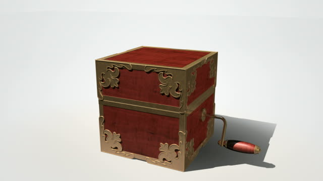 jack in the box animate open An ornate antique  jack-in-the-box made of red wood and gold trimmings with its crank handle animating and turning and lid popping open with nothing appearing on an isolated white studio background crank mechanism stock videos & royalty-free footage