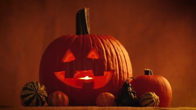 jack o' lantern decoration - pumpkin stock videos & royalty-free footage