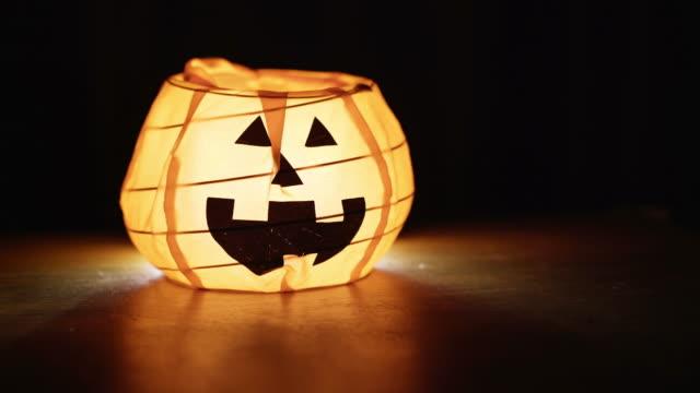 Jack O' Lantern on the table at night