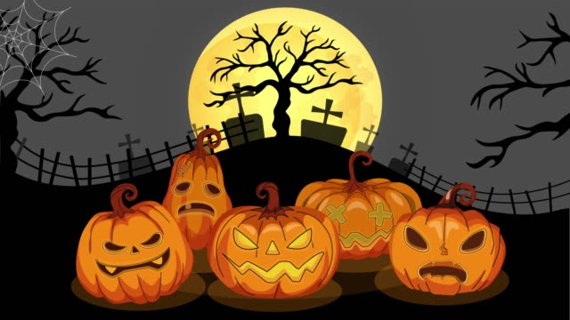Jack O' Lanterns or pumpkins banner In Spooky Night - Happy Halloween animation 4k video Jack O' Lanterns or pumpkins banner In Spooky Night - Happy Halloween animation video ghost icon stock videos & royalty-free footage