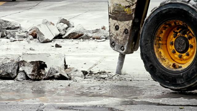 Jackhammer excavator truck video