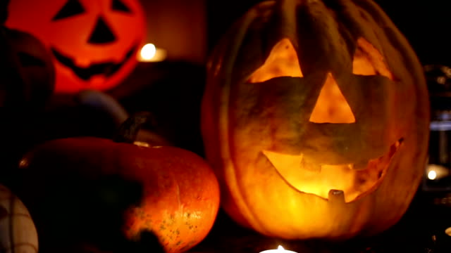 Jack-o-lantern on a dark background video